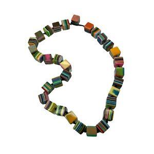 Sobral Striped Pop Art Cube Statement Necklace Colorful Resin Brazil Designer