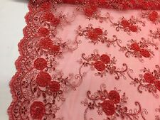 3D RIBBON FLOWERS EMBROIDER WITH SEQUINS ON A RED MESH-FASHION-SOLD BY THE YARD