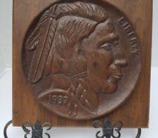 Nickel Indian Liberty 1937 3D Folk Wall Art Wooden Wood Carved Primitive GSH