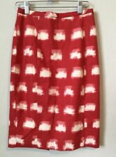 ANTHROPOLOGIE COREY LYNN CALTER 2 Ackee Pencil Skirt Red White Career Pattern