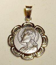 14k Gold 2 tone Fancy CHRIST Medal/Pendant-Free Ship!