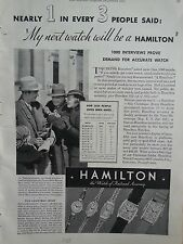 1935 Hamilton Watch Interview Alcott Caroline Gail Scott Drake Original Print Ad