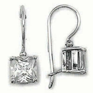 4 ct. Dangle Princess Earrings in Solid Sterling Sterling - Beautiful Sparkle