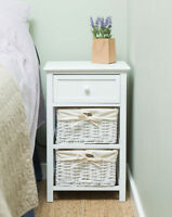 Shabby Chic Wicker/Wooden Draw Bathroom/Bedroom Side Table Storage Unit UK Stock