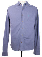 Johnnie O Mens Small Heather Blue Solid Surfer Logo LS Button Front Shirt