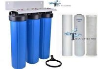 """BIG BLUE 20"""" WATER FILTER SYSTEM 1"""" WITH FILTERS-TRIPLE WHOLE HOUSE/COMMERCIAL"""
