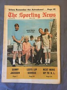 THE SPORTING NEWS APR 6 ,1968 - MICKEY MANTLE AND FAMILY TRIBUTE ISSUE!