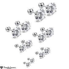 Hypoallergenic Screwback Ball Surgical Steel Cubic Zirconia Silver Stud Earrings