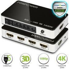 FosPower Premium 5X1 Port HDMI 4K UHD 3D Ready Selector Switch Switcher Hub Box