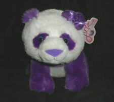 "11"" GIRLZ NATION AURORA PURPLE PANDA BEAR W BOW STUFFED ANIMAL PLUSH TOY W/ TAG"