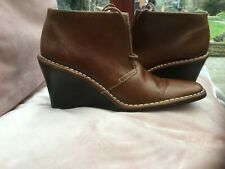 Vintage Ralph Lauren Ladies Mid -Tan Leather Ankle Boots Size 7