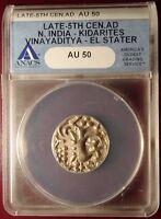 Late 5th Century AD N. India Kidarites Vinayaditya EL Electrum Stater ANACS AU50