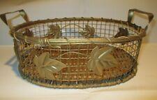 Gold Basket, Wood & Metal, Gold Color Paint, Home Decor, Wicker Gift Basket