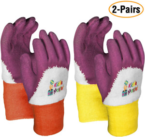 Kids Gardening Gloves by KIDDIE MASTER: 2-Pairs Children's Gardening Gloves Se