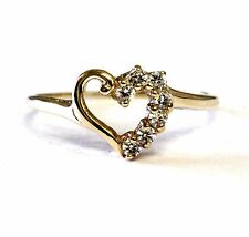 14k yellow gold womens Cubic Zirconia cz heart ring 1g ladies estate antique