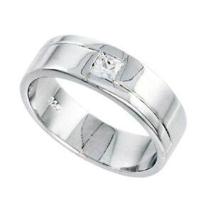 Sterlingsilber Herren Ring W / Cubic Zirkonia Stein