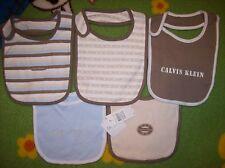 Calvin Klein Bibs Infant Baby Boy 5pc Layette Set Browns Blues New