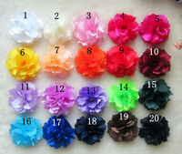 20pcs DIY Baby Girls 8cm Satin fabric Flower Hair Accessory For Bow No Clip
