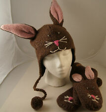 Brown Bunny Rabbit HAT & MITTENS knit set ADULT costume FLEECE LINING ski cap