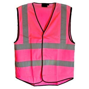 Hot Pink Reflective Hi Visibility Hi Viz Vis Vest, 7 Sizes, Riding, Hen Nights