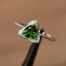 1.31 CT Diopside Green Gemstone Diamond Rings Real 14K White Gold Ring Size K.5