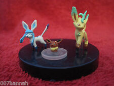 3 Pokemon Mini-Figure/Zukan:Eevee+Leafeon+Glaceon/gebraucht(Evoli/Glaziola/Folip