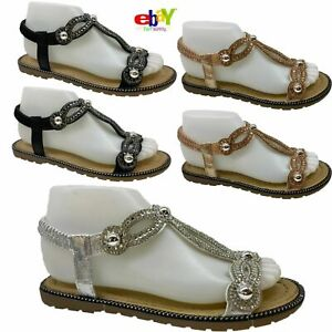 Ladies Women's Sandals Summer Comfy Peep Toes Elastic Strappy Bling Shoes Sizes