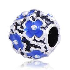 5PCS Silver Plated Blue Enamel Flower Lot Charm Beads Fit European Rope Bracelet
