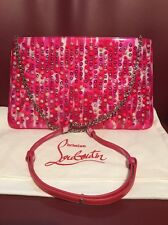New Christian Louboutin Loubiposh Multicolor studded Pink Leather Clutch Bag