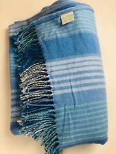 Vera Bradley Throw Blanket in Baby Blue Striped w Fringe