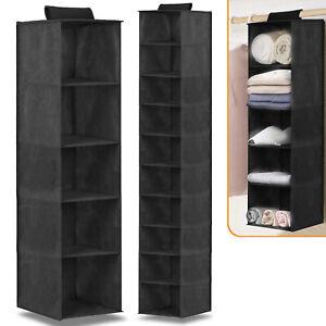 5/10 Pocket Wardrobe Hanging Shelf Storage Rack Organiser Clothes Hang Shelves