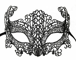 Maschera Di Venezia IN Pizzo Di Burano-Loupcivette Carnevale-Nero Argentato 45