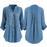 Women Long Sleeve T-Shirt Casual Lace Blouse Tops Solid V-neck Botton Shirts 5XL