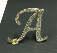 "Vintage Initial Cursive Letter ""A"" Brooch Pin Rhinestone Monogram Script Y26E"