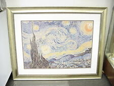 Starry Night Framed Print  by Vincent Van Gogh Decor Art Reproduction