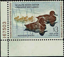 "RW #27 PLATE #167503 1960 $3 ""REDHEAD DUCKS"" DUCK STAMP MINT-OG/NH"