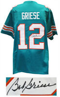 Bob Griese MIAMI DOLPHINS Signed Teal Custom Football Jersey - SCHWARTZ COA