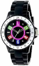 NEW L by ELLE LE50002P02 Women's Black Plastic Watch Colorful Dial & Numbers 10M