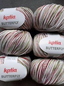 50g Katia Butterfly Baumwolle Bändchengarn Stricken Häkeln Frb. 81 rot/pistazie