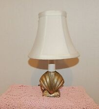 SMALL BRASS SEA SHELL TABLE LAMP~ELECTRIC~ROLL SWITCH~BATHROOM~BOUDOIR~CHILDREN