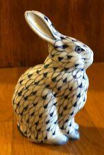 Hand Painted Andrea by Sadek Porcelain Bunny Rabbit Blue & White Fishnet Pattern