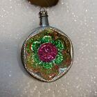 """VTG Indent Floral Glass Christmas Ornament  2.75""""     #U"""