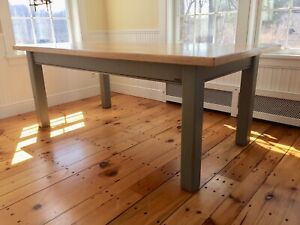 Authentic Grange Wooden Farmhouse Dining Table, Blonde With Gray Legs.