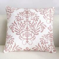 Floral Vine Pink White Square Scandinavian embroidery Throw cushion cover  18'