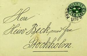 SWEDEN 1890 5 ORE LOCALLY USED PS ENVELOPE TO STOCKHOLM