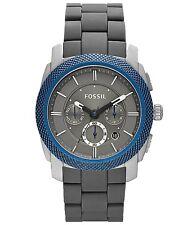 New Fossil Machine Chronograph Date Blue Bezel Men Dress Watch 45mm FS4659 $165
