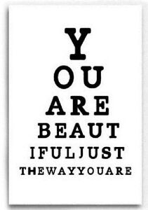 You Are Beautiful Large Canvas Wall Art 3D Picture Wood Frame 40 x 60 Eye Test