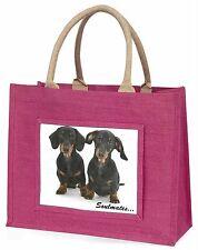 Dachshund Dogs 'Soulmates' Sentiment Large Pink Shopping Bag Christm, SOUL-30BLP