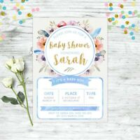 BABY SHOWER INVITATION PERSONALISED FLORAL INVITE BLUE GOLD BOYS BOHO CHIC