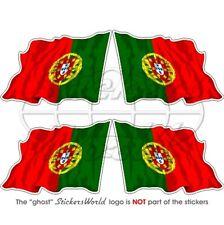 """PORTUGAL Portuguese Waving Flag 2"""" (50mm) Vinyl Bumper-Helmet Stickers Decals x4"""